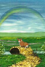 Le #3 4X6 Postcard Ryta Pembroke Welsh Corgi Sympathy Card Rainbow Bridge Art