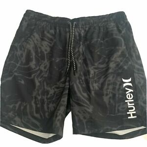 "Hurley Men Printed Volley Swim 18"" Trunks Short Comfort Liner Black Camo Medium"