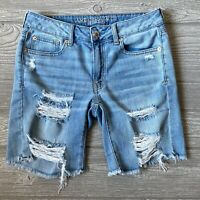 AEO American Eagle Tom girl Bermuda blue Jean Shorts Distressed Womens Size 2