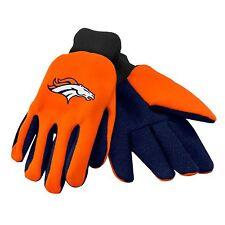 Denver Broncos Gloves Sports Logo Utility Work Garden NEW Colored Palm