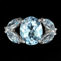 Oval Sky Blue Topaz 10x8mm 14K White Gold Plate 925 Sterling Silver Ring