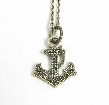Noble Jewel Marcasite 925 Sterling Silver Anchor Pendant Necklace