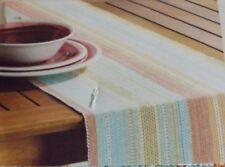 New Food Network Fiesta Striped Table Cloth Runner Turquoise Aqua Pink Yell