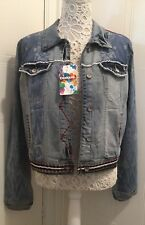 Desigual Denim Jacket Chaq Vision Embroidered Sequin Aztec size 16 BNWT RRP£109