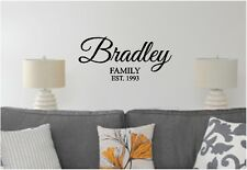 Family Name & Established Date Wall Sticker Wall Decor Vinyl Decal lettering