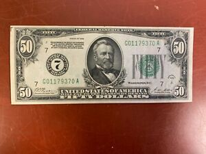 $50 1928 Federal Reserve Note Chicago  Nice Note