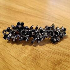 "Small 2.5"" Antiqued Silver Black Crystal Filigree Barrette Vintage Hair Clip"