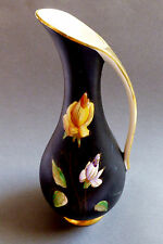 VTG Royal Porzellan Bavaria KM Germany hand painted black & yellow rose Pitcher