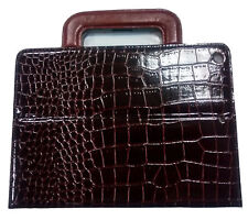 IPAD AIR RETINA LEATHER CROCODILE CASE COVER STAND SMART DARK BROWN WITH HANDLES