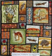 Quilting Patchwork Sew Fabric AUSTRALIAN ABORIGINAL ANIMALS Panel 60x55cm NEW