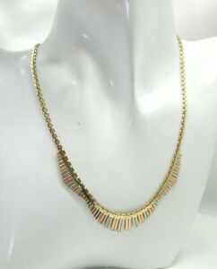 Vintage Beautiful Three Colour 14 Carat Gold Cleopatra Necklace