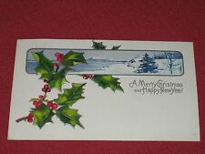 1909 A Merry Christmas & Happy New Year Postcard #1 Embossed Posted  VG