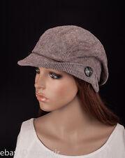 M488 Brown Cute Stripe Sparkle Lady Women Summer Sun Hat Newsboy Beanie Cap