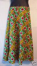 African Kente Fabric Cloth wrap around Skirt Maxi Vintage 70s Free size Print#10