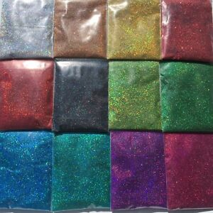Bulk 24 Colour Nail & Body Art Glitter Holographic Laser Fine Dust powder Craft