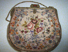 Superb Antique Victorian French Hand Made Crewel Needle Work Evening Purse Xc