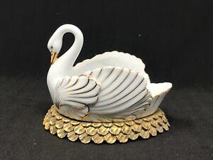 Vintage Porcelain Swan Hollywood Regency Soap Dish Gold Accents Gilt Ormolu Nest