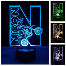 Dirt Bike LED Night Light Motorbike Custom Name Changing Colours Remote Gift