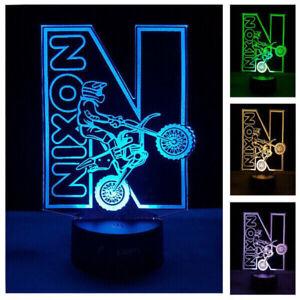 Dirt Bike LED Night Light Motorbike Custom Name Changing Colours Remote Gift