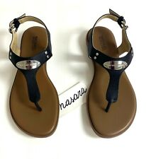 Women MK Michael Kors Plate Thong Buckle Up Flat Sandals Leather Black/silver