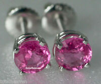Solid 14K White Gold 1.60 ct Natural Pink Sapphire Screw Back Stud Earrings $995