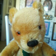 New listing Vintage 1990s mohair Merrythought Teddy Bear with scarf 14in Euc