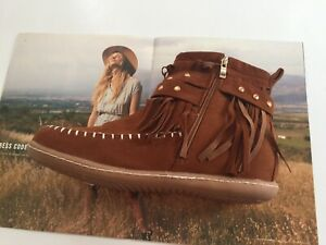 BROWN SUEDE WOMEN's MOCCASINS with SIDE ZIPPER are NEW w/o BOX: SIZE 9