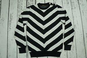 BALMAIN x H&M Black White Jacquard Knit Chevron Monochrome Jumper Sweater SMALL