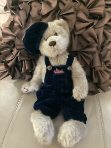 Bearington Bear Blue Velvet Overalls And Hat