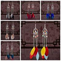 Vintage Fashion Bohemian Boho Long Feather Tassel Drop Dangle Women Earrings