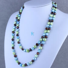"""Pearl Necklace Green Blue Coffee 46"""" 8-10mm Multi Color Baroque Freshwater"""