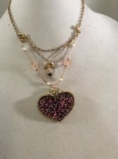 Betsey Johnson necklac gold tone pink leopard heart three strand with charms $35
