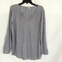 Old Navy Womens Black Striped Long Sleeve Casual V Neck Blouse Top Size XL