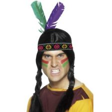Native American Indian Brave Headband + Feathers Adults Wild West Fancy Dress