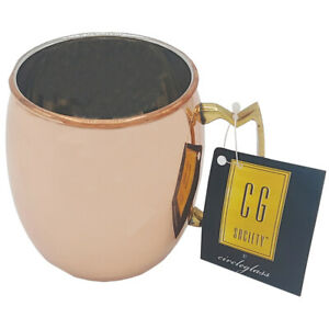 Circleglass Moscow Mule Copper Mug with Brass Handle Stainless Steel Inner 625ml