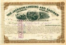 Jackson Lansing & Saginaw RR Stock issued to Moses Taylor & signed by Cornelius