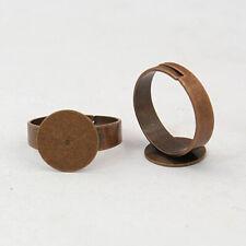 2 Ring Blanks Antiqued Copper Settings Adjustable Shanks Glue On Pad