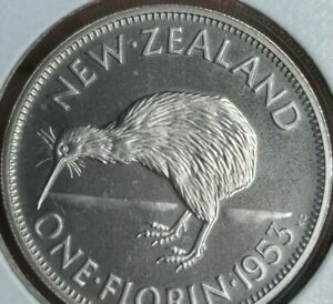 1953 New Zealand Florin Proof Very Low Mintage