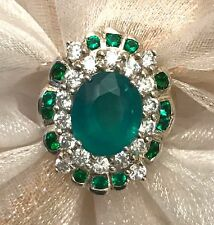 2.74 CT CHATHAM GREEN EMERALD & WH. TOPAZ & DIOPSIDE 925 ST SILVER JEWELRY RING