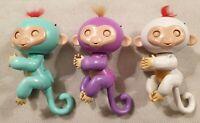 Wow Wee Fingerlings Bundle 3x Monkey Fingerlings Green Purple White