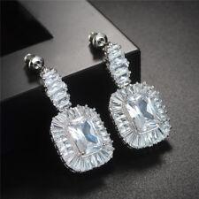 18k White Gold Platinum Earrings made w Swarovski Crystal Stone Bridal Jewelry