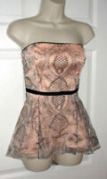 ANTHROPOLOGIE moulinette soeurs FORMAL PUFFY BLOUSE PEACH BLACK LACE DEMASK SZ 8