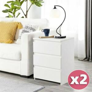 1 Pair Bedside Table Cabinet Chest of Drawers Nightstand with 3 Drawers White