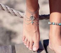 Silver ELEGANT FOOT ANKLET SANDAL WEDDING BELLY DANCE Ankle Bracelet Tribal Boho