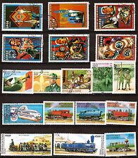 GUINEE 18 timbres oblitérés trains,cosmonautes et les scouts  181T5