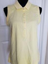 Lilly Pulitzer Island Polo/Shirt Women's L Yellow  Pink Logo Sleeveless EUC--D21