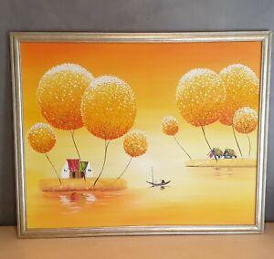Original Orange Landscape Painting
