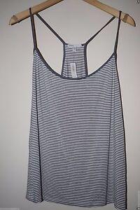 NEW GapBody Womens Pajama PJs Shirt Top Tank Gray Striped Drapey Chemise L XL