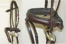 FSS German Padded ROLLED Comfort Padded Crank HAVANA BROWN Dressage Bridle Reins