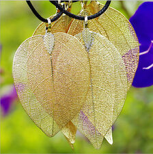 Vogue Unique Nature Leaf Pendant Dipped 24K Gold Plated Filigree Necklace Chain